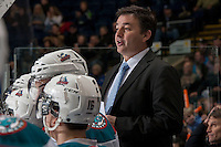 KELOWNA, CANADA -FEBRUARY 8: Dan Lambert, assistant coach of the Kelowna Rockets stands on the bench against the Victoria Royals on February 8, 2014 at Prospera Place in Kelowna, British Columbia, Canada.   (Photo by Marissa Baecker/Getty Images)  *** Local Caption *** Dan Lambert;