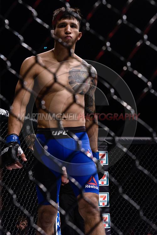 "GLASGOW, UNITED KINGDOM, JULY 16, 2017: Alberto Morales during ""UFC Fight Night Glasgow: Nelson vs. Ponzinibbio"" inside the SSE Hydro Arena in Glasgow, Scotland on Sunday, July 16, 2017."