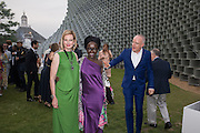 Julia Peyton-Jones; Lynette Yiadom-Boakye; Hans Ulrich Obris, 2016 SERPENTINE SUMMER FUNDRAISER PARTY CO-HOSTED BY TOMMY HILFIGER. Serpentine Pavilion, Designed by Bjarke Ingels (BIG), Kensington Gardens. London. 6 July 2016