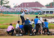 Martin Kaymer hits his drive off the tee box on 18 as he cruised to a -9 victory during the final round of the U.S. Open on Sunday  June 15, 2014 at Pinehurst #2. (Photo by Alan Lessig)