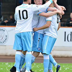 Forfar players surround opening goalscorer Kevin Milne.....(c) BILLY WHITE | SportPix.org.uk