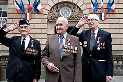 D-Day 75th anniversary, Edinburgh, Friday 6th June 2019<br /> <br /> A service to commemorate the 75th anniversary of the D-Day<br /> landings was organised by Armed Forces charity Legion<br /> Scotland and The French Consulate General.<br /> <br /> It was attended by 15 D-Day veterans, 4 of whom received the Knight of the Légion d'Honneur Cross, serving personnel, various dignitaries and Graeme Dey, the Scottish Government's Minister for Parliamentary Business and<br /> Veterans. <br /> <br /> Pictured:  David Livingston (97, Royal Navy, centre) received the medal and is flanked by previous recipients Jack Adamson (100, Black Watch, left) and Robert Paton (94, wireless operator, right)<br /> <br /> Alex Todd | Edinburgh Elite media