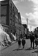 16/06/1963.06/16/1963.16 June 1963.Hendrick Street houses evacuated. View of three condemned houses at hendrick Street, Dublin. Note the furniture that was put on the street the night before.