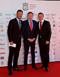 LIVERPOOL, ENGLAND - Tuesday, May 9, 2017: Former Liverpool players Patrick Berger, Phil Thompson and Vladimir Smicer arrive on the red carpet for the Liverpool FC Players' Awards 2017 at Anfield. (Pic by David Rawcliffe/Propaganda)
