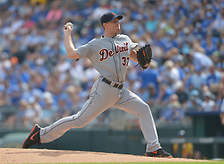 Sep 20, 2014; Kansas City, MO, USA; Detroit Tigers starting pitcher Max Scherzer (37) delivers a pitch in the first inning against the Kansas City Royals at Kauffman Stadium. Detroit won 3-2. Mandatory Credit: Denny Medley-USA TODAY Sports