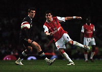 Photo: Tony Oudot.<br /> Arsenal v Manchester City. The Barclays Premiership. 17/04/2007.<br /> Cesc Fabregas of Arsenal gets in a shot