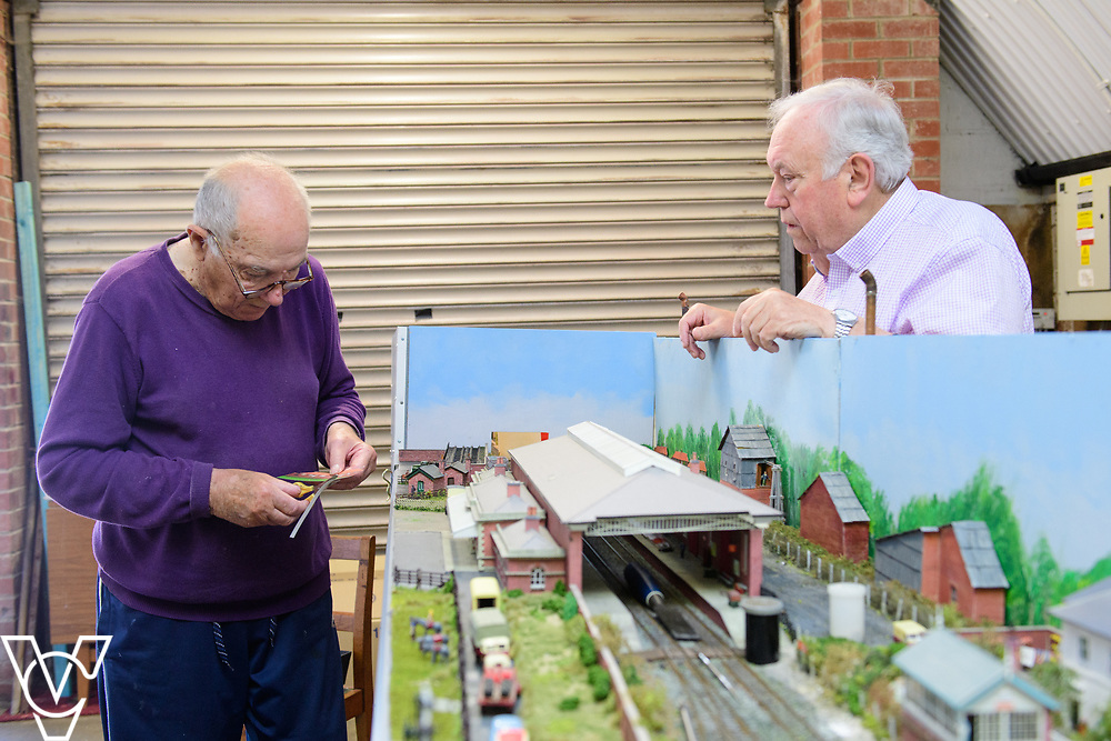 INSIGHT MAGAZINE: Bridlington Model Railway Society are based in Station Road, Bridlington, in a railway arch unit owned by Network Rail.  Pictured is, from left, Trevor Pritchard and Harold Bellhouse.<br /> <br /> Picture: Chris Vaughan Photography<br /> Date: May 31, 2017