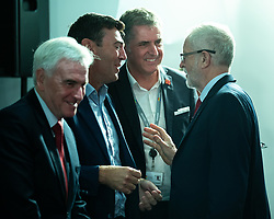 © Licensed to London News Pictures . 02/09/2019. Salford , UK. JOHN MCDONNELL , ANDY BURNHAM , STEVE ROTHERHAM and JEREMY CORBYN . Members of the shadow cabinet and regional devolved mayors attend a speech and Q&A by Labour Party leader Jeremy Corbyn at The Landing Media City in Salford . Photo credit: Joel Goodman/LNP