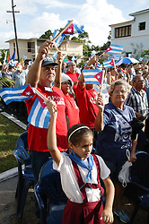 Crowd of spectators at revolutionary meeting; Havana; Cuba,