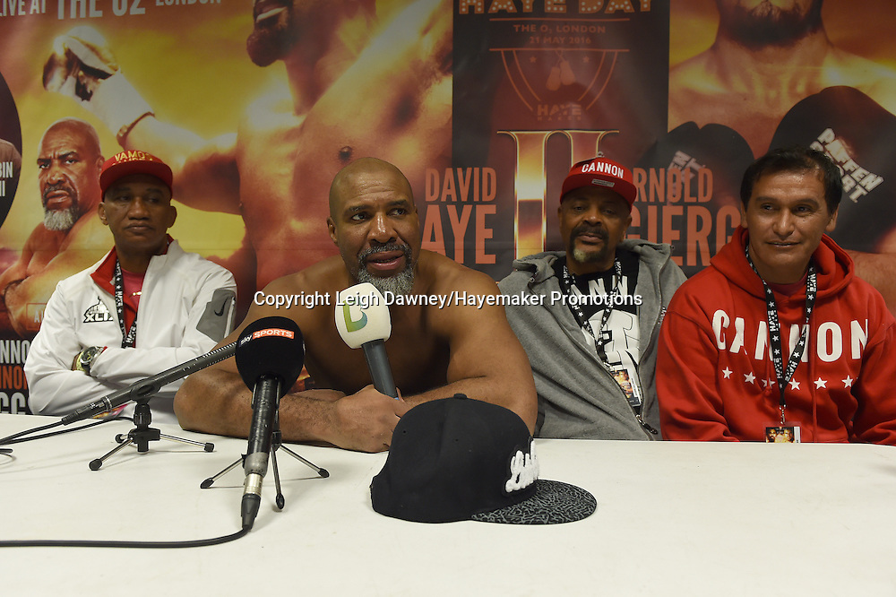 Shannon Briggs speaks in a post fight press conference after he defeated Emilio Ezequiel Zarate in heavyweight contest at the 02 Arena, London on the 21st May 2016. Photo credit: Leigh Dawney/Hayemaker Promotions