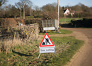 Red triangle Tree Cutting sign in rural area, Sutton, Suffolk, England