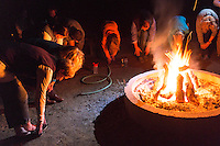 Backroads Trip Guests Doing Campfire Yoga Exercises at Thunderbird Ranch, Healdsburg, California