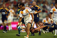 Tim Nanai-Williams drops the ball with the line open as Josh Valentine dives.Super 14 rugby union match, Brumbies v Cheifs, Canberra, Australia. Saturday 19 February 2011. Photo: Paul Seiser/PHOTOSPORT.../SPORTZPICS