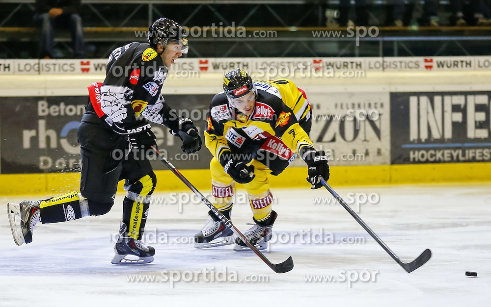 19.09.2014, Messestadion, Dornbirn, AUT, EBEL, Dornbirner EC vs UPC Vienna Capitals, 3.Runde, im Bild Justin Di Benedetto, (Dornbirner EC, #19) und Brett Carson, (UPC Vienna Capitals #07)// during the Erste Bank Icehockey League 3rd round match between Dornbirner EC and UPC Vienna Capitals at the Messestadion in Dornbirn, Austria on 2014/09/19, EXPA Pictures © 2014, PhotoCredit: EXPA/ Peter Rinderer