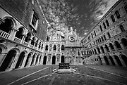 Doge's Palace Courtyard, Venice, Italy. A black and white photograph.