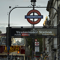 Westminster station exterior with the characteristic roundel sign.<br />