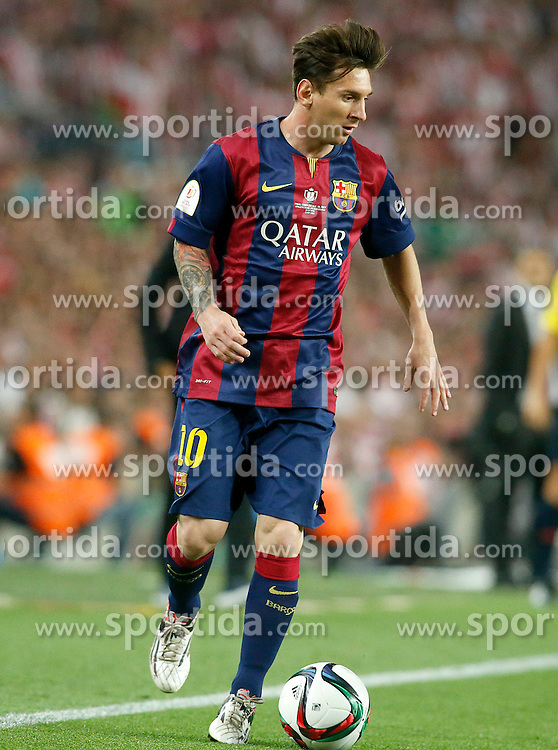 30.05.2015, Camp Nou, Barcelona, ESP, Copa del Rey, Athletic Club Bilbao vs FC Barcelona, Finale, im Bild FC Barcelona's Leo Messi // during the final match of spanish king's cup between Athletic Club Bilbao and Barcelona FC at Camp Nou in Barcelona, Spain on 2015/05/30. EXPA Pictures © 2015, PhotoCredit: EXPA/ Alterphotos/ Acero<br /> <br /> *****ATTENTION - OUT of ESP, SUI*****