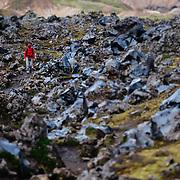 Gavriel Jecan hikesp through the Icelandic Highlands near the Landmannalaugar World Heritage Site in Iceland.