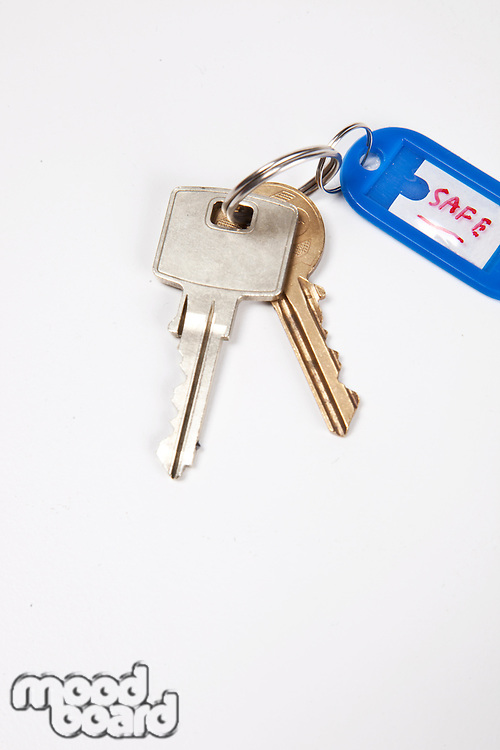 Keys with key ring tag on white background