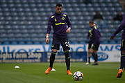 Everton defender Ramiro Funes Mori warming up for the Premier League match between Huddersfield Town and Everton at the John Smiths Stadium, Huddersfield, England on 28 April 2018. Picture by Craig Zadoroznyj.