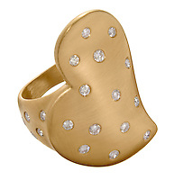 soft gold heart ring encrusted with diamonds