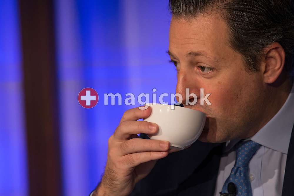 Boris F.J. Collardi, Chief Executive Officer (CEO), takes a sip of his tea during a press conference on the fourth quarter and full-year results 2014 of Julius Baer Group Ltd. held at the Hotel Widder in Zuerich, Switzerland, on Monday, 2 February 2015. (Photo by Patrick B. Kraemer / MAGICPBK)