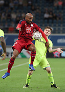 Jimmy Briand (Bordeaux) and Thomas Foket (Gent) fight for the ball during the first leg of the Uefa Europa League play-off match between Kaa Gent and Girondins de Bordeaux on August 23, 2018 in Ghent, Belgium, Photo Vincent Van Doornick / Isosport / Pro Shots / ProSportsImages / DPPI