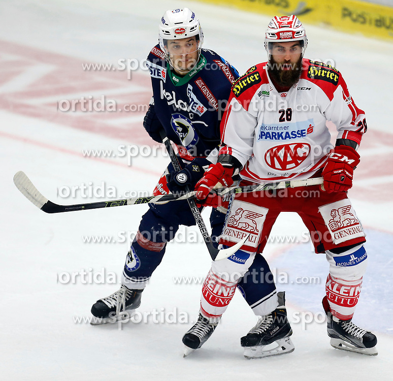11.10.2015, Stadthalle, Villach, AUT, EBEL, EC VSV vs EC KAC, 10. Runde, im Bild Stefan Bacher (VSV) und Martin Schumnig (KAC) // during the Erste Bank Icehockey League 10th round match between EC VSV vs EC KAC at the City Hall in Villach, Austria on 2015/10/11, EXPA Pictures © 2015, PhotoCredit: EXPA/ Oskar Hoeher