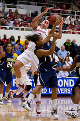 March 20, 2010; Stanford, CA, USA; Stanford Cardinal forward/center Jayne Appel (2) fights for a rebound with UC Riverside Highlanders guard Ashley Collier (1) during the first half in the first round of the 2010 NCAA womens basketball tournament at Maples Pavilion.  Stanford defeated UC Riverside 79-47.
