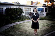 DANA POINT, CA NOV 13:  Emily Chase Smith stands in front of the home she rents to short term tenants in Dana Point, CA on Tuesday, November 13, 2012.  Home vacation rentals have exploded in popularity in recent years, leading to complaints from neighbors and prompting cities from Paris to Southern California to ban or restrict the practice.(Photo by Sandy Huffaker for The Wall Street Journal).SHORT TERM.21429