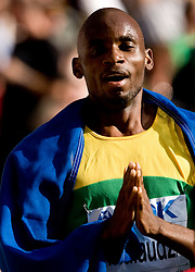 South Africa's Mbulaeni Mulaudzi celebrates winning the men's 800m final race of the 2009 IAAF Athletics World Championships on August 23, 2009 in Berlin. (Photo by Vid Ponikvar / Sportida)