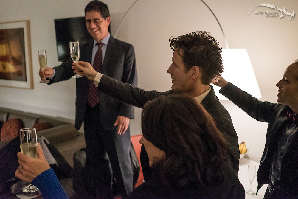 St. Lawrence String Quartet performs the world premiere of John Adams' Second Quartet at Bing Concert Hall on Stanford Campus. Backstage at Bing, January 18, 2015. Celebratory toast with Lively Arts and Bing Concert Hall head.
