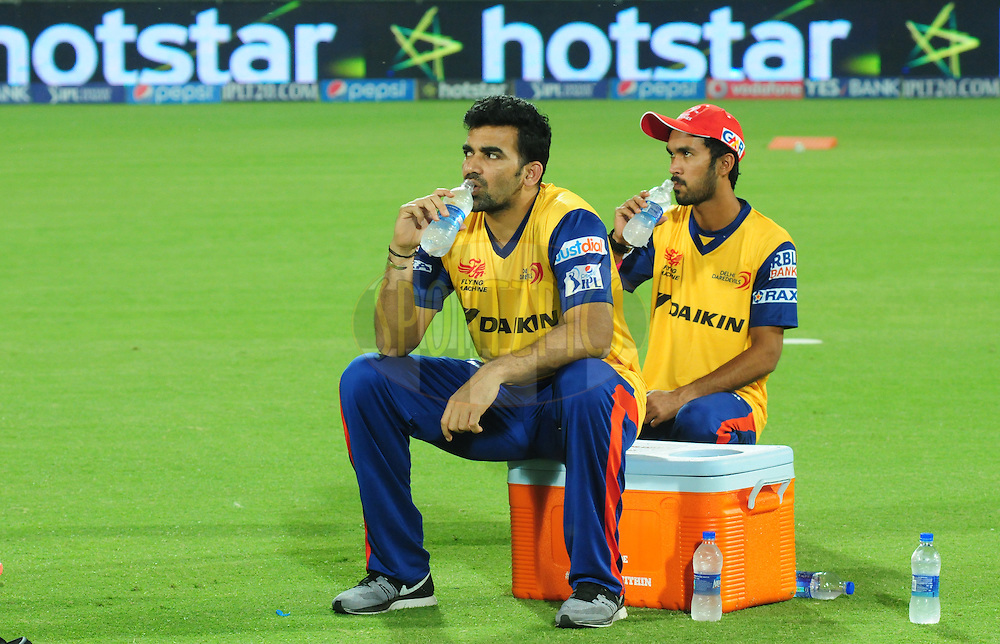 Zaheer Khan and KK Jiyas of the Delhi Daredevils during warmup session before match 21 of the Pepsi IPL 2015 (Indian Premier League) between The Delhi Daredevils and The Mumbai Indians held at the Ferozeshah Kotla stadium in Delhi, India on the 23rd April 2015.<br /> <br /> Photo by:  Arjun Panwar / SPORTZPICS / IPL
