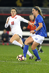 04 November 2016: Emily Dickman(10)  during an NCAA Missouri Valley Conference (MVC) Championship series women's semi-final soccer game between the Indiana State Sycamores and the Illinois State Redbirds on Adelaide Street Field in Normal IL