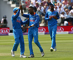 July 14, 2018 - London, Greater London, United Kingdom - Hardik Pandya of India celebrates the catch of England's Ben Stokes  by MS Dhoni of India.during 2nd Royal London One Day International Series match between England and India at Lords Cricket Ground, London, England on 14 July 2018. (Credit Image: © Action Foto Sport/NurPhoto via ZUMA Press)