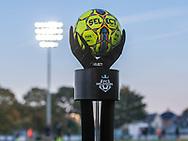 FODBOLD: Kampbolden ligger klar til kampen i ALKA Superligaen mellem FC Helsingør og AGF den 29. september 2017 på Helsingør Stadion. Foto: Claus Birch