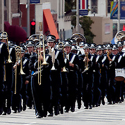 A marching band in the parade