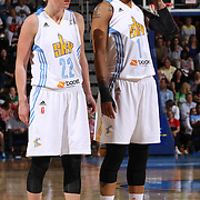 Chicago Sky Forward Tamera Young (1), RIGHT, and Chicago Sky Guard Courtney Vandersloot (22), LEFT,  standing next to each other in the second half of an WNBA preseason basketball game between the Chicago Sky and the Washington Mystics Tuesday, May. 13, 2014 at The Bob Carpenter Sports Convocation Center in Newark, DEL