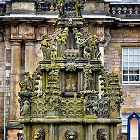 Courtyard Fountain at Holyrood Palace in Edinburgh, Scotland<br />