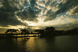 Sunset on Tay Ho, known as west lake with nice cloudy sky. Hanoi