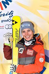 07.02.2017, St. Moritz, SUI, FIS Weltmeisterschaften Ski Alpin, St. Moritz 2017, Super G, Damen, Medaillen, im Bild Nicole Schmidhofer (AUT, Weltmeisterin) // World Champion Nicole Schmidhofer of Austria poses with her gold medal after the ladie's SuperG of the FIS Ski World Championships 2017. St. Moritz, Switzerland on 2017/02/07. EXPA Pictures © 2017, PhotoCredit: EXPA/ ST. MORITZ 2017/ Francis Bompard