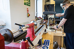 Woodwork workshop at Kingswood Centre, a secure centre for people with mental health issues for assessment and/or treatment who may have come into contact with the Criminal Justice System,  London Borough of Enfield, Barnet, Enfield & Haringey Mental Health Trust, London UK