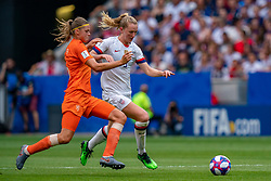 07-07-2019 FRA: Final USA - Netherlands, Lyon<br /> FIFA Women's World Cup France final match between United States of America and Netherlands at Parc Olympique Lyonnais. USA won 2-0 / Anouk Dekker #6 of the Netherlands, Sam Mewis #3 of the United States