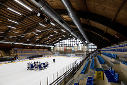 Players at first practice of Slovenian National Ice Hockey team before IIHF Ice Hockey World Championship Division I Group A in Budapest, on April 17, 2018 in Ledena dvorana, Bled, Slovenia. Slovenia. Photo by Matic Klansek Velej / Sportida