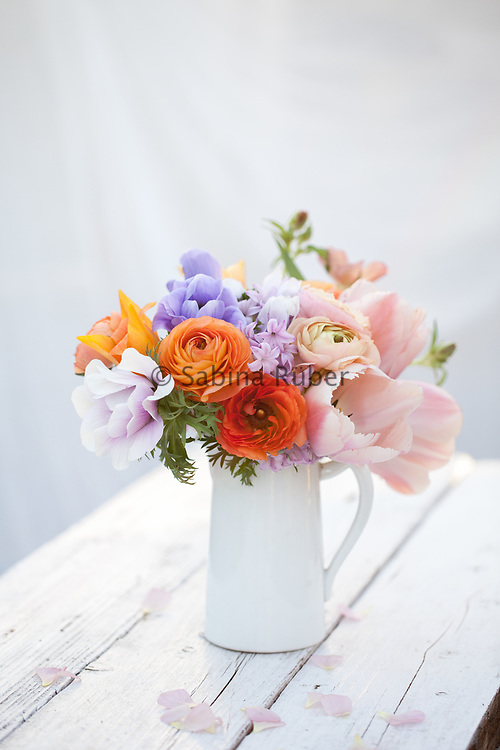 Spring Flower arrangement with Ranunculus, Tulips and  Anemonies