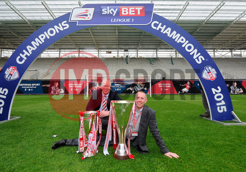 David Lloyd and Adam Baker are pictured with the Sky Bet League One and JPT Trophy's  - Photo mandatory by-line: Joe Meredith/JMP - Mobile: 07966 386802 - 03/05/2015 - SPORT - Football - Bristol - Ashton Gate - Bristol City v Walsall - Sky Bet League One