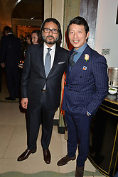 Left to right, HANI FARSI and WEI KOH at a reception hosted by The Rake Magazine and Claridge's to celebrate London Collections 2015 held at Claridge's, Brook Street, London on 8th January 2015.