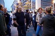Frankfurt am Main | 28 Apr 2014<br /> <br /> Am Montag (28.04.2014) veranstalteten etwa 200 Menschen an der Hauptwache in Frankfurt am Main sogenannte Montagsdemos gegen Hartz IV und die Agenda 2010 und dann sp&auml;ter f&uuml;r den Frieden, gegen den Krieg etc., am zweiten Teil der Montagsdemo nahmen AfD-Aktivisten und die Neonazi-Aktivistin Sigrid Sch&uuml;&szlig;ler (NPD, RNF/Ring Nationaler Frauen) teil.<br /> Hier: Neonazi-Aktivistin Sigrid Sch&uuml;&szlig;ler (NPD, RNF/Ring Nationaler Frauen, r, rote Haare) gibt ein TV-Interview.<br /> <br /> &copy;peter-juelich.com<br /> <br /> [No Model Release | No Property Release]