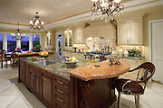 Large Custom Kitchen With Granite Island And Beautiful Interior Design
