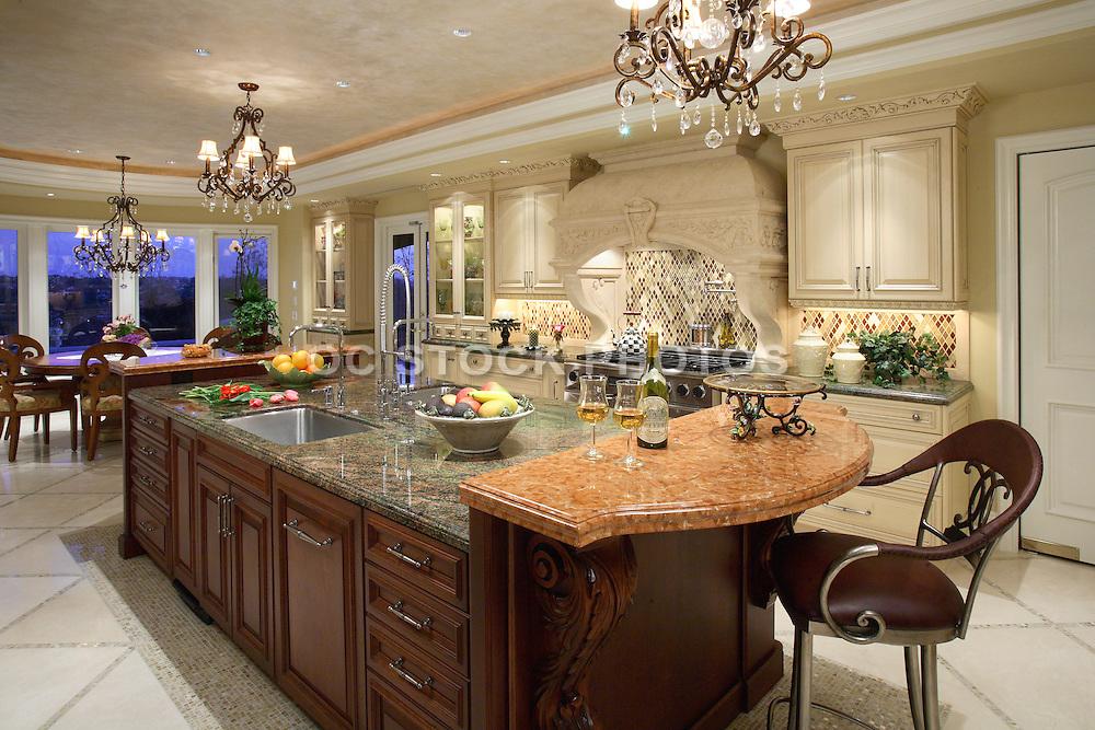 Large Custom Kitchen With Granite Island And Beautiful Interior Design